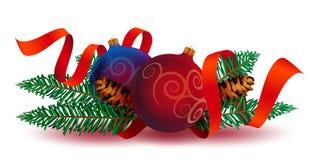 与丝带的圣诞节装饰 免版税图库摄影