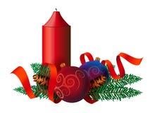 与丝带的圣诞节装饰 图库摄影