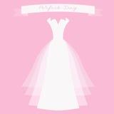 与丝带的婚礼礼服 库存图片