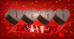 与丝带的巧克力心脏 库存图片