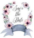 与丝带的水彩花卉花圈您的文本的 横幅是能使用的不同的花卉例证目的 背景高雅重点邀请浪漫符号温暖的婚礼 免版税库存图片