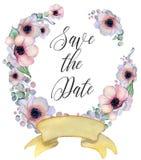 与丝带的水彩花卉花圈您的文本的 横幅是能使用的不同的花卉例证目的 背景高雅重点邀请浪漫符号温暖的婚礼 库存照片