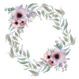 与丝带的水彩花卉花圈您的文本的 横幅是能使用的不同的花卉例证目的 背景高雅重点邀请浪漫符号温暖的婚礼 免版税图库摄影