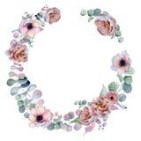 与丝带的水彩花卉花圈您的文本的 横幅是能使用的不同的花卉例证目的 背景高雅重点邀请浪漫符号温暖的婚礼 图库摄影