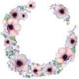 与丝带的水彩花卉花圈您的文本的 横幅是能使用的不同的花卉例证目的 背景高雅重点邀请浪漫符号温暖的婚礼 免版税库存照片