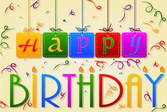 与丝带的生日快乐标记缝的卡片 免版税图库摄影