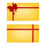 与丝带的礼品券 1个看板卡邀请 库存照片