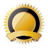 与丝带的空白的奖奖牌 免版税图库摄影