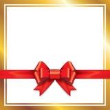 与丝带的红色礼品弓 免版税库存照片