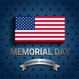 与丝带的美国国旗为阵亡将士纪念日 库存图片