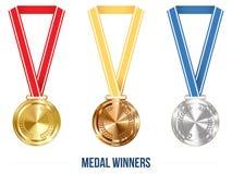 与丝带集合,传染媒介例证的奥林匹克奖牌 免版税库存图片