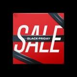 与丝带黑色星期五在箱子,例证的销售红色海报 免版税库存图片