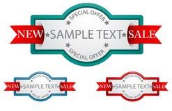 与丝带.commercial标志的标签 免版税图库摄影