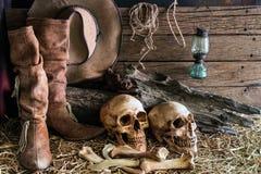 与两个人头骨的静物画在谷仓背景中 免版税库存图片
