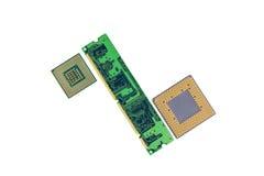 与两个处理器的计算机存贮器芯片 免版税库存照片