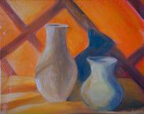 与两个水罐的橙色静物画 皇族释放例证