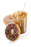 与两个油炸圈饼的被冰的咖啡在白色背景 库存图片