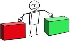与两个箱子的棍子形象 库存例证