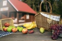 与两个篮子的野餐桌和果子临近乡间别墅 库存图片