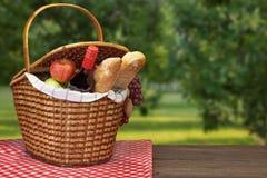 与两个篮子的野餐桌和果子临近乡间别墅 免版税库存图片