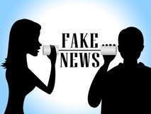 与两个罐头3d例证的假新闻交谈 免版税库存照片