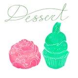 与两个蛋糕的图象的例证做了水彩剪影桃红色和绿色 点心题字 Waatercolor 库存图片
