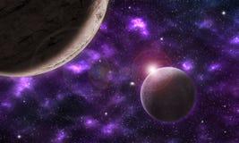 与两个行星的虚构的空间风景在紫色星云 库存照片