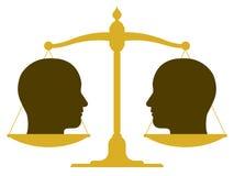 与两个头的平衡的标度 免版税库存照片