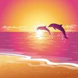 与两只海豚剪影的背景在日落的 EPS10 免版税库存照片