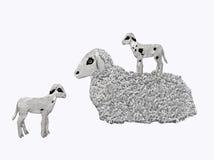 与两只羊羔的绵羊 库存照片