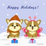 与两只逗人喜爱的小狗小狗的圣诞卡在狂欢节服装 向量例证