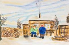 与两名妇女的冬天农村风景 免版税库存照片