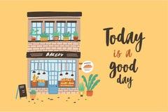 与两层面包店、面包店或者bakeshop门面的卡片模板  与大厦的海报在城市街道上和今天是A 库存例证
