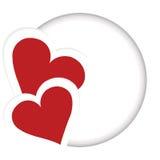 与两心脏的您的文本的卡片和地方 免版税图库摄影