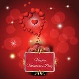 与两心脏的欢乐红色背景 免版税图库摄影