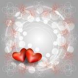 与两心脏的透雕细工框架 图库摄影