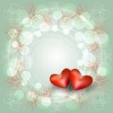 与两心脏的透雕细工框架 免版税图库摄影