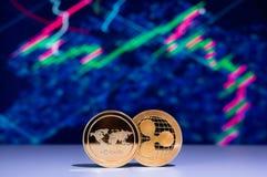 与两枚金黄硬币的Cryptocurrency图 免版税库存照片