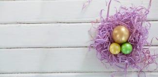 与两的金黄复活节彩蛋绘了在巢的鸡蛋 免版税库存照片