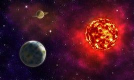 与两行星、地球和土星, ne的虚构的空间风景 免版税库存照片