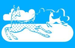 与两头鹿的抽象样式在白色和蓝色 免版税库存图片