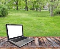 与个人计算机和草坪的木大阳台 库存图片