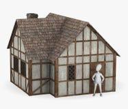 与中世纪大厦-立场的漫画人物 免版税库存照片