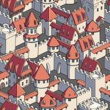 与中世纪建筑学的传染媒介无缝的样式 逗人喜爱的动画片城市 库存例证