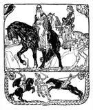 与中世纪骑士场面的印刷装饰艺术装饰样式盾框架:骑士,与长矛的马背争斗国王,和 皇族释放例证
