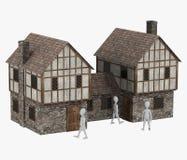 与中世纪building20的漫画人物 免版税库存图片