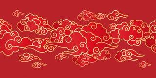 与中国云彩的无缝的边界 免版税库存图片