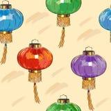 与中国灯笼的无缝的样式 免版税库存照片