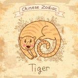 与中国黄道带- �Tiger的葡萄酒卡片 免版税图库摄影