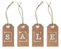 与串的牛皮纸标记 概念玻璃现有量扩大化的销售额 免版税库存图片